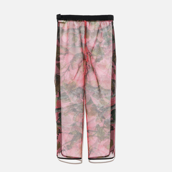 Polyester mesh pants with all over pink camo print from Unused blues store www.bluesstore.co