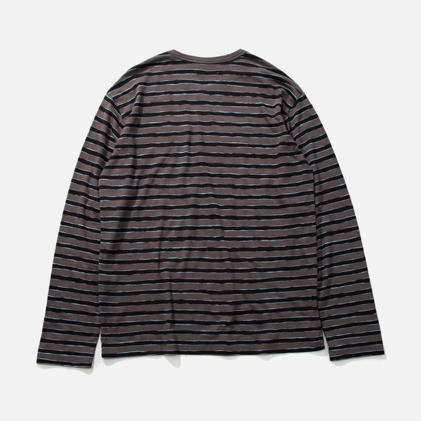 Striped Long sleeve T-shirt in charcoal and black from Unused blues store www.bluesstore.co