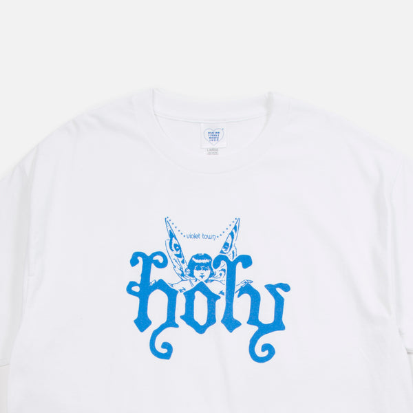 Holy Blue T-shirt in white from the debut collection of Australian based Violet Town blues store www.bluesstore.co