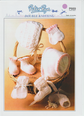 Knitting Pattern Leaflet Peter Pan P669 DK Baby Accessories