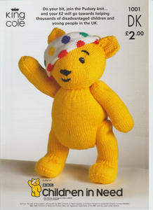 Knitting Pattern Leaflet King Cole 1001 Children in Need Pudsey Bear