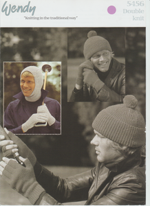 Knitting Pattern Leaflet Wendy 5456 DK Mens Hats, Balaclava & Gloves