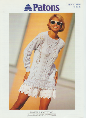 Knitting Pattern Leaflet Patons 4896 Ladies DK Sweater