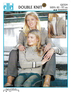 Knitting Pattern Leaflet Elle Q2324 DK Ladies Ribbed Cardigans