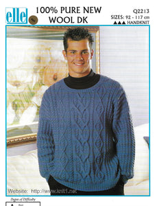 Knitting Pattern Leaflet Elle Q2213 DK Mens Cabled Challenge Sweater