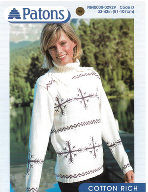 Knitting Pattern Leaflet Patons 2929 Ladies DK Snowflake Sweater
