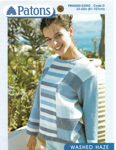 Knitting Pattern Leaflet Patons 3002 Ladies Colour Block Sweater
