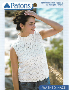 Knitting Pattern Leaflet Patons 3004 Ladies Lacy Top