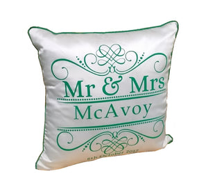 "Luxury Personalised 16"" Cushion FLOCK Wedding Mr & Mrs Est. Scroll"