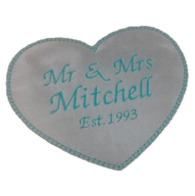 Motif Patch Personalised Large Wedding Heart Mr & Mrs Est.