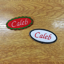 Motif Patch Personalised Name Text Oval / Round *Choose size & Border Style*