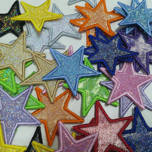 Motif Patch Hologram Sparkly Fabric Stars Star *Choice of different colour & sizes*