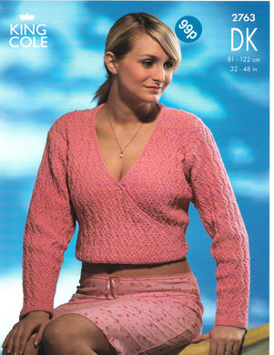 Knitting Pattern Leaflet King Cole 2763 DK Ladies Crossover Cardigans
