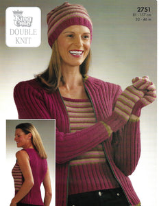 Knitting Pattern Leaflet King Cole 2751 DK Ladies Jacket, Top, Hat & Mittens