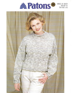 Knitting Pattern Leaflet Patons 2025 Ladies DK Cropped Sweater