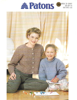 Knitting Pattern Leaflet Patons 2001 Ladies Kids Sweater & Cardigan