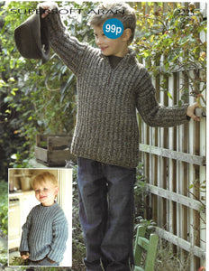 Pattern Leaflet Sirdar 2225 Aran Kids Ribbed Sweaters