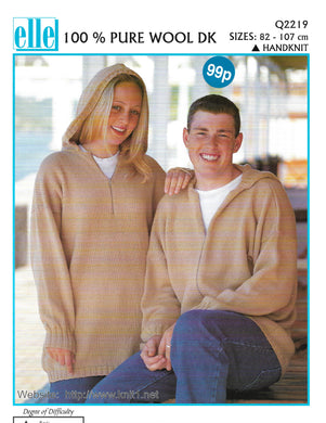 Knitting Pattern Leaflet Elle Q2219 DK Unisex Hooded Sweater & Cardigan