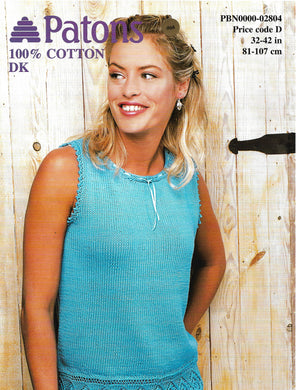 Knitting Pattern Leaflet Patons 2804 Ladies DK Top with Lace Border