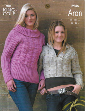 Knitting Pattern Leaflet King Cole 2946 Aran Ladies Jacket & Sweater