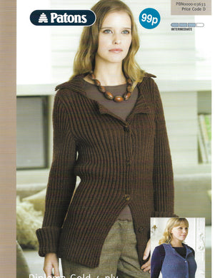 Knitting Pattern Leaflet Patons 3633 4ply Ladies Fitted Jacket & Waistcoat