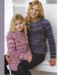 Knitting Pattern Leaflet Patons 3348 Spirit Ladies Kids Aran Split Collar Sweater