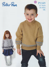 Knitting Pattern Leaflet Peter Pan P1165 DK Baby Kids Raglan Sweater Cardigan
