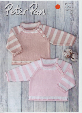Knitting Pattern Leaflet Peter Pan P1310 Baby Stripe Raglan Sweater