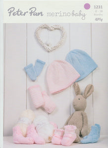 Knitting Pattern Leaflet Peter Pan 1231 4ply Baby Pram shoes, Hat, Mitts & Socks