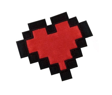 Motif Patch Retro Geek Gamer 8 bit Pixel Life Heart