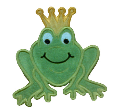 Motif Patch Cartoon Frog Prince with Crown