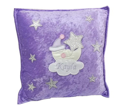 Luxury Personalised Crushed Velvet Cushion Baby Sleepy Moon