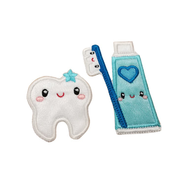 Motif Patch Kawaii Cute Tooth, Toothpaste & Brush Set