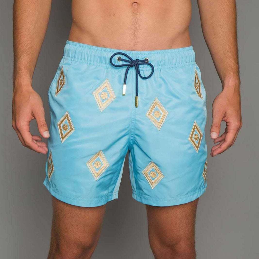 e58a098921 embroidered swimming shorts, blue swim shorts, handmade swimming shorts,  beach party fashion,