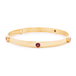 18ct solid gold bangle with 5 studded gemstones in different shades of pink, gold jewellery, gold jewelry, jewellery store, online jewelry store, jewellers