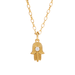 18CT GOLD AND DIAMOND HAMSA NECKLACE