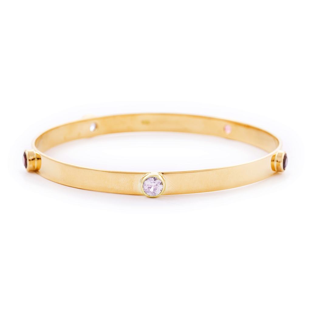18ct solid gold bangle with 5 studded gemstones in different shades of pink