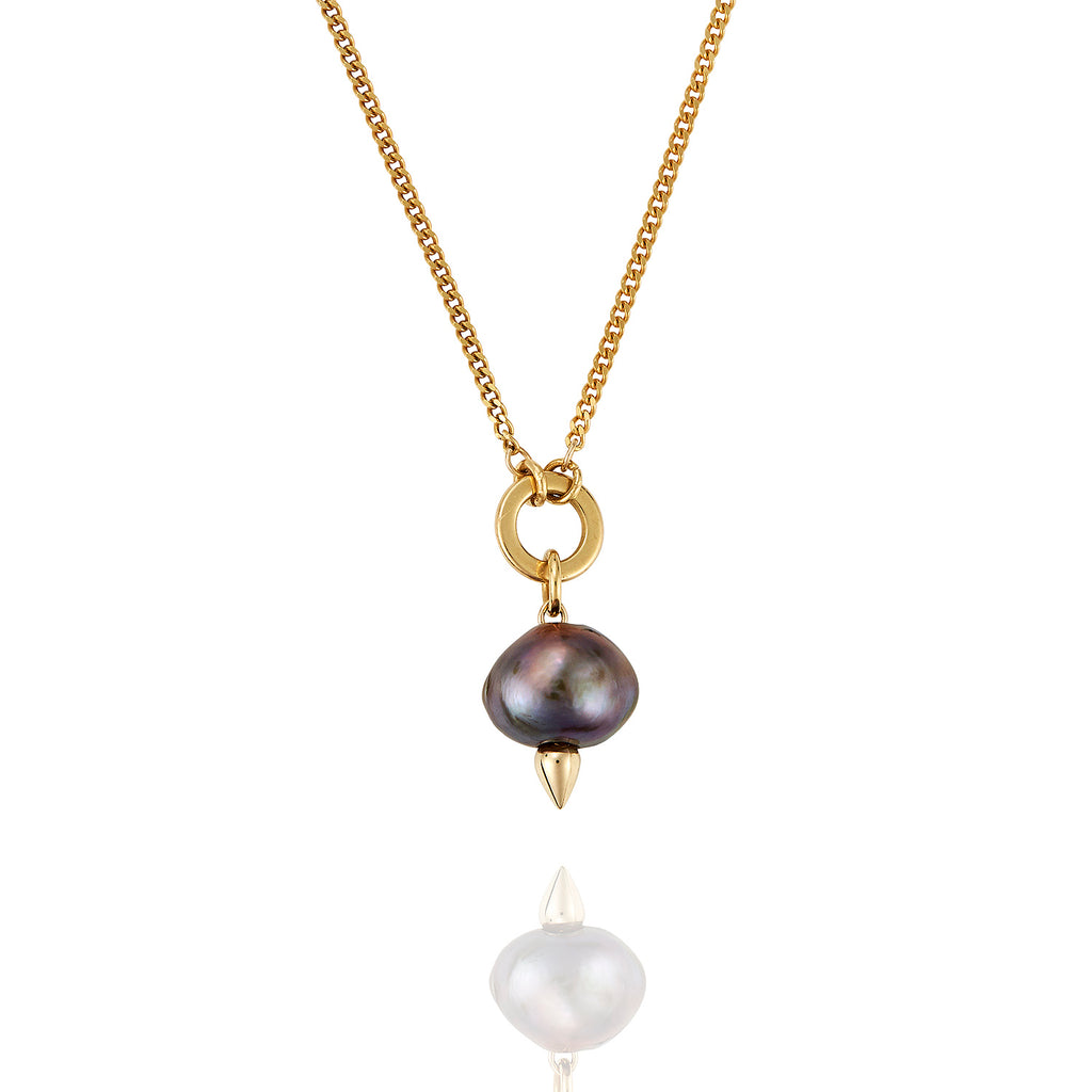 Midnight Pearl & Gold Necklace