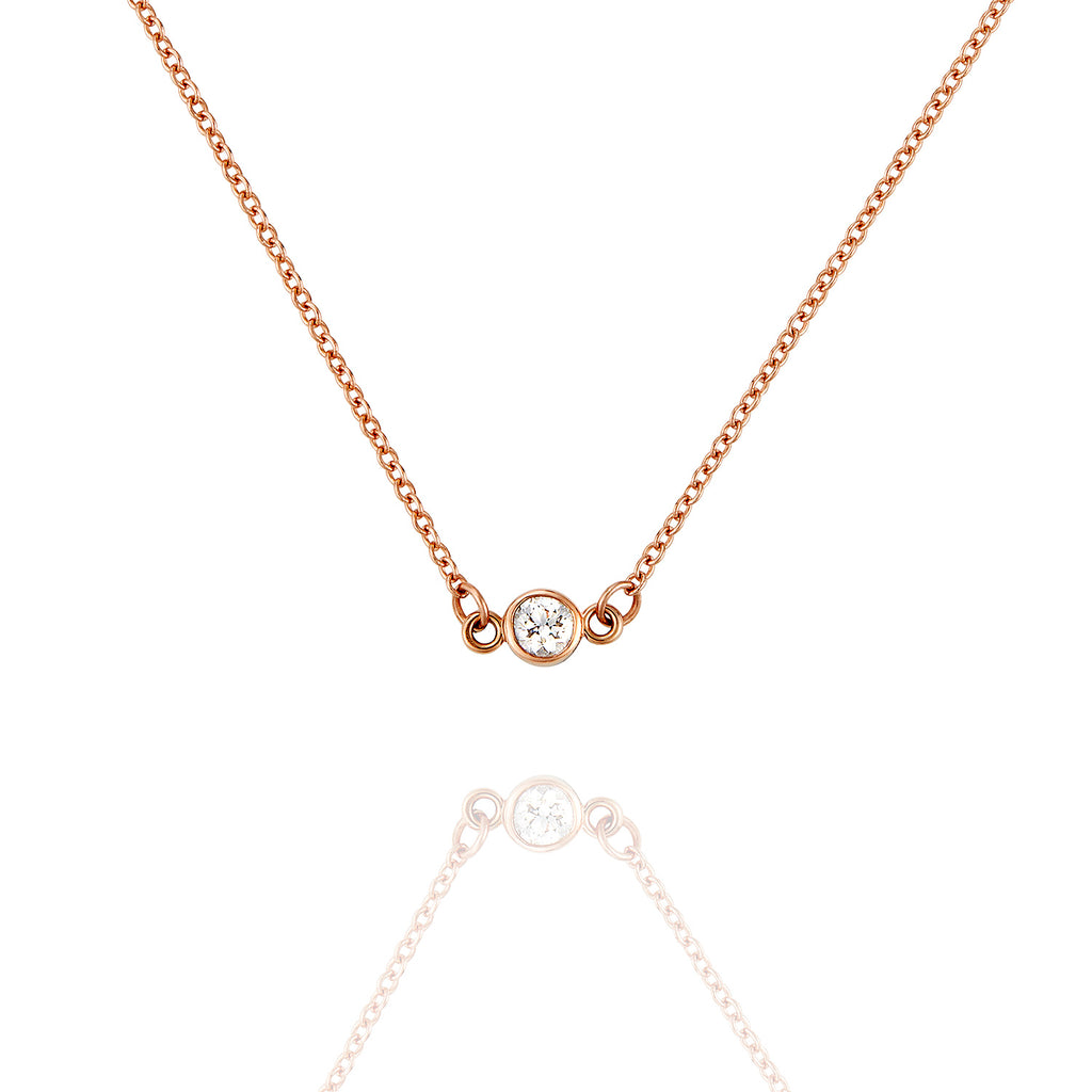 Single Diamond & Rose Gold Necklace