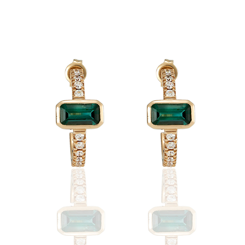 Ava Green Tourmaline & Diamonds Earrings