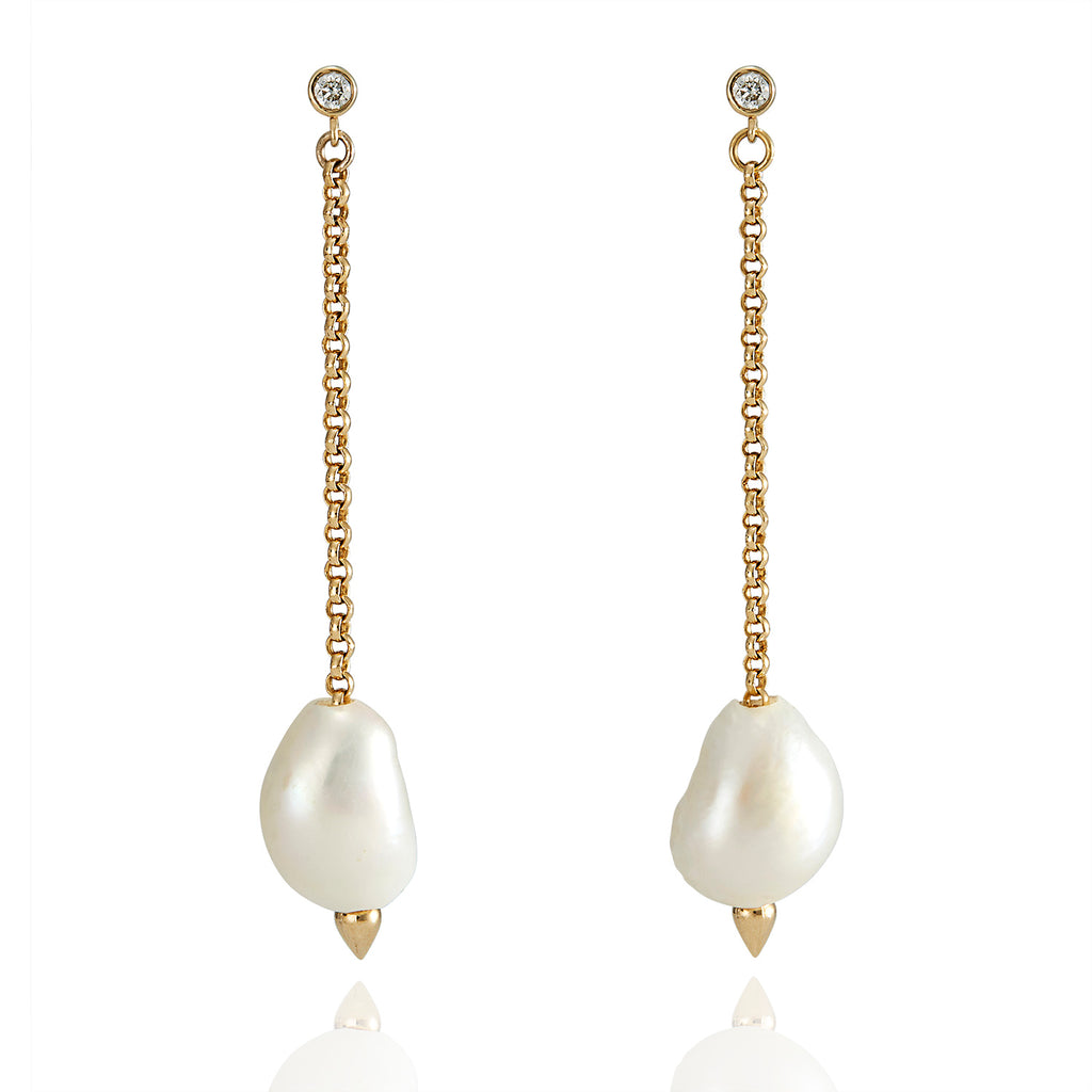 White Pearl & Diamond Drop Hydra Earrings