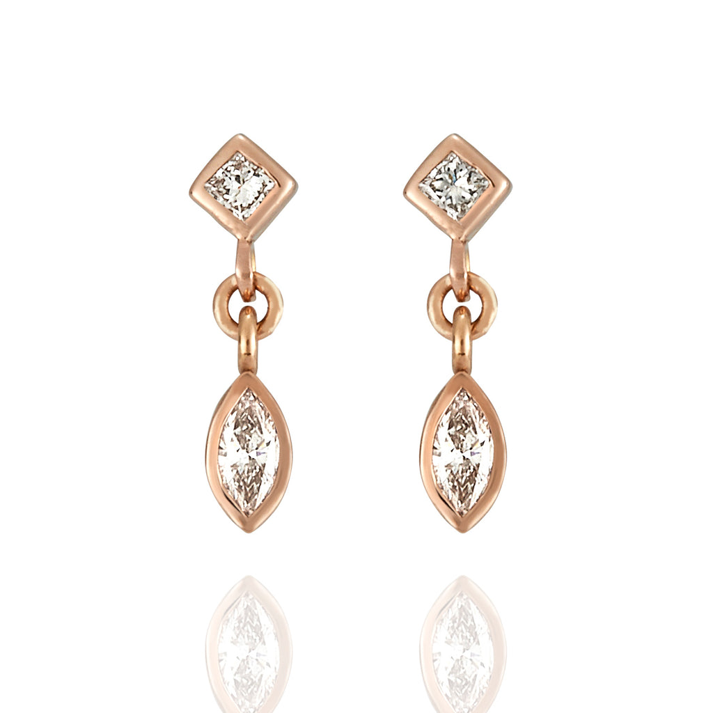 Tiny Diamond & Rose Gold Earrings