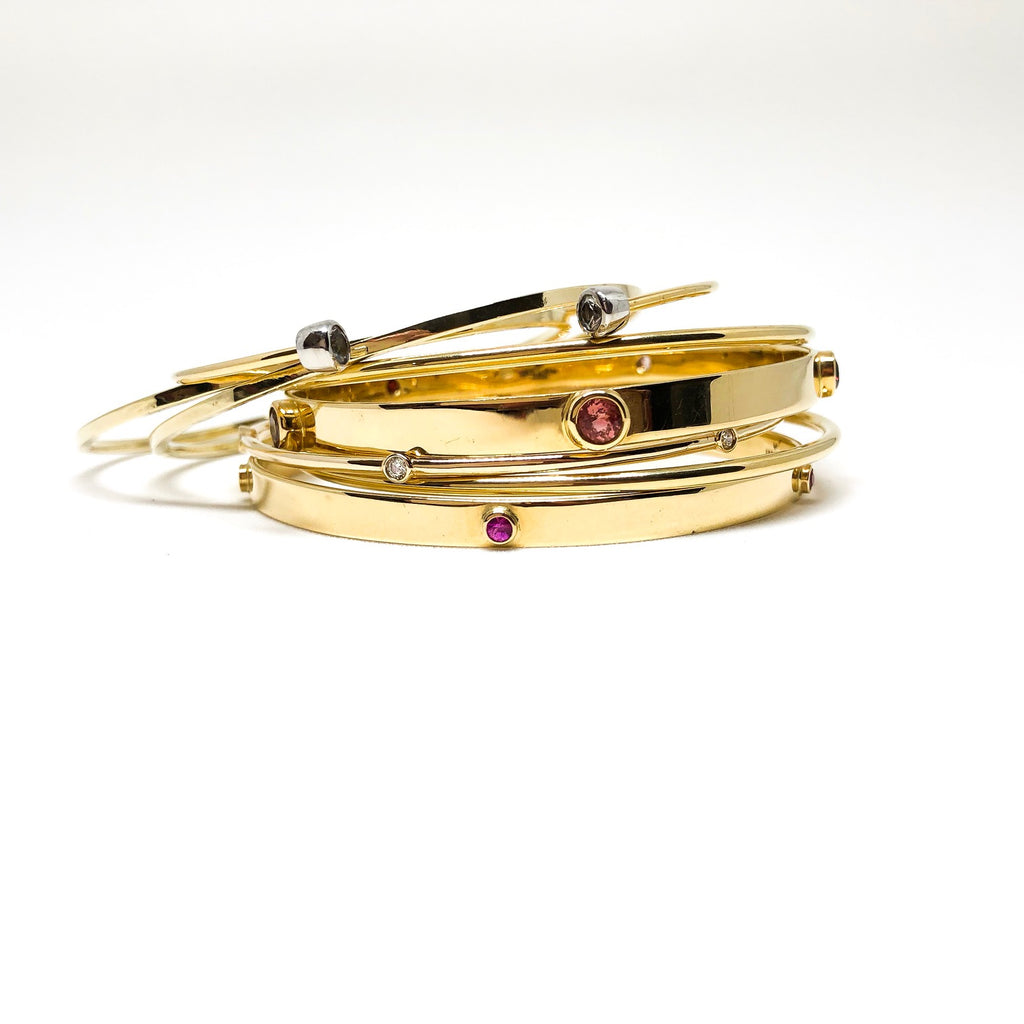 Double Diamonds & 18Ct Gold Cuff Bracelet