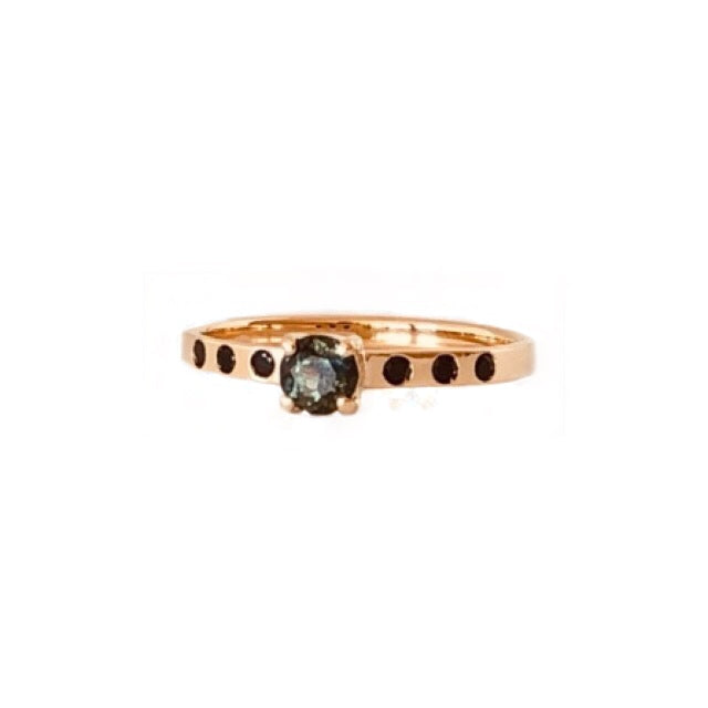 blue green and sapphire and black spinel ring, stacking ring, rings, gold jewellery, gold jewelry