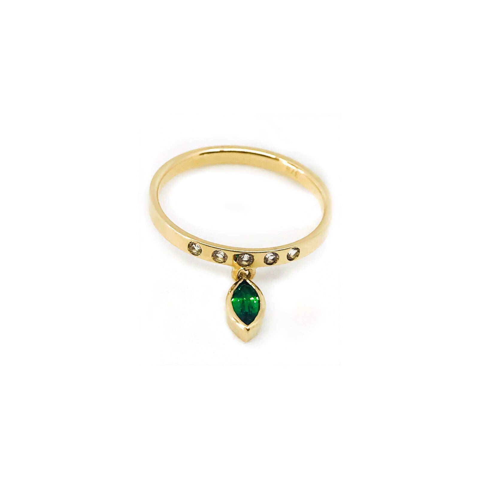 emerald stacking ring, gold jewellery, serafin jewellery