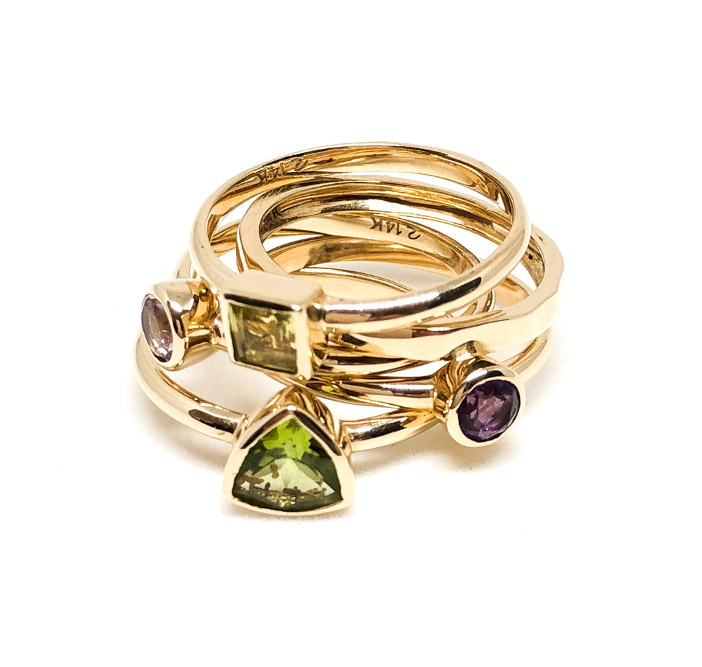 green triangle peridot ring, small ring, stacking ring, rings, gold jewellery, gold jewelry