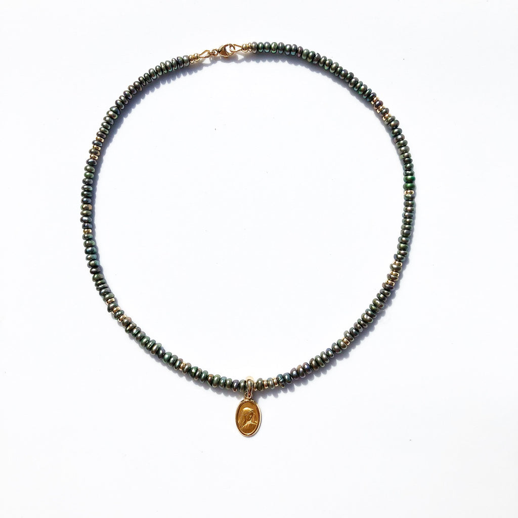 Green Pearl & Gold Choker Necklace