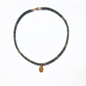 GREEN PEARL AND GOLD SACRED MEDALLION CHOKER