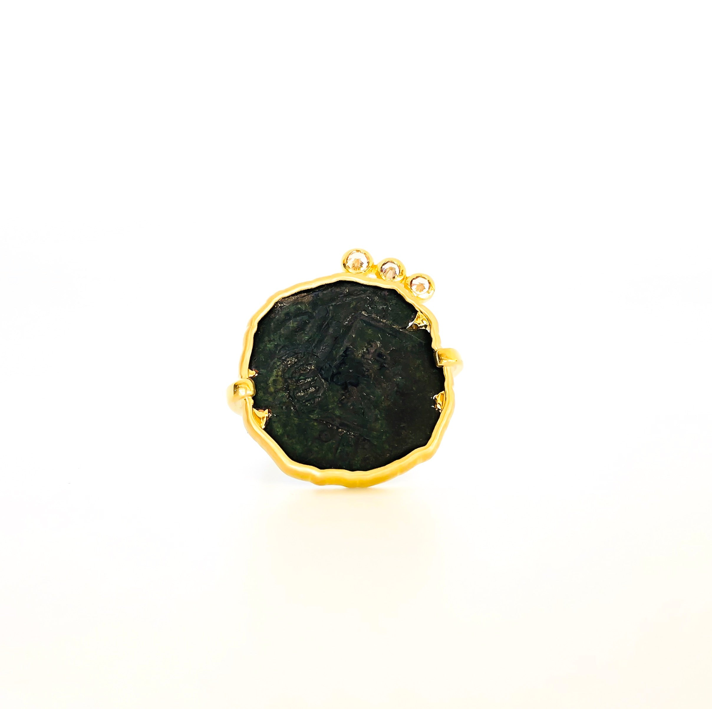 SPANISH COIN RING WITH 18CT GOLD AND DIAMONDS
