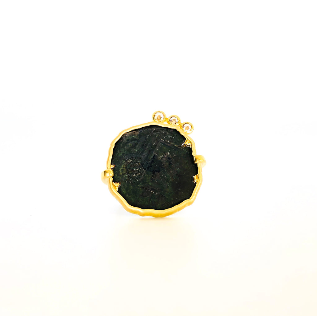 coin ring, gold ring, coin and diamond ring, serafin jewellery